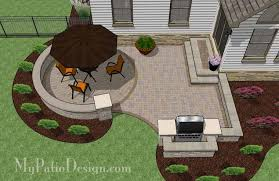 Backyard Brick Patio Design With Grill Station Seating Wall And by Curved Patio For