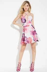 fit and flare dress forever 21 forever 21 tiger mist floral fit and flare dress lyst