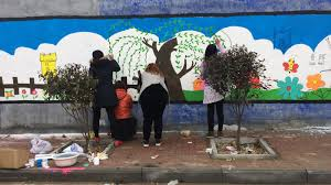 messy and beautiful painting village murals onesky for all the next day when liu showed up to paint some villagers were already there wanting to help i was surprised says liu but i learned later that a lot of