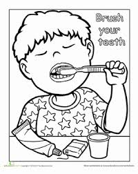 Words To Live By Brush Your Teeth Worksheet Education Com Brushing Teeth Coloring Pages