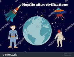 fantastical vector illustration alien civilization stock vector