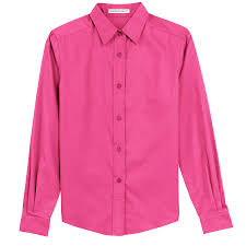 pink flat color ladies basic long sleeve button down color options hands on