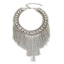 silver rhinestone necklace images Wholesale clear rhinestone silver tone chunky tassel bib necklace jpg