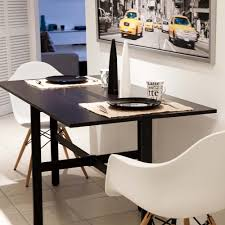 Small Kitchen Table With 2 Chairs by Small Modern Drop Leaf Kitchen Table Painted With Black Color Plus