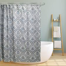 Teal Damask Curtains Elaine 70 In Teal Paisley Damask Canvas Shower Curtain Ls