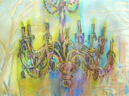Painting Of Chandelier Flourish Chandelier Painted Over Old Watercolor