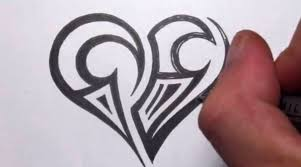drawing a simple tribal maori heart tattoo design youtube