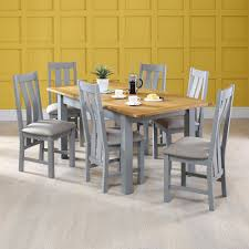 Oak Top Dining Table Manor Grey Painted Dining Table With Oak Top With 6x Dining Chairs