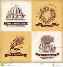 vintage thanksgiving labels set stock vector illustration of