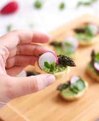 canapes for watercress and goat s cheese crostini with asparagus and radishes