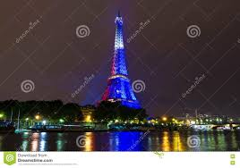 French Flag Eiffel Tower The Eiffel Tower Lit Up In Color Of French Flag Paris France