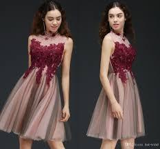 burgundy new designer short prom dresses knee length high neck