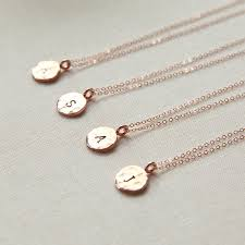 Personalized Picture Necklaces Dainty Rose Gold Initial Disc Personalized Rose Gold Necklace