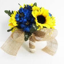 artificial sunflowers sunflowers wedding bouquet bridesmaid bouquets blue cornflower