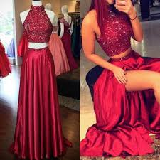 red sequins high slit taffeta two pieces prom dresses 2018