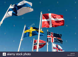 flags of the nordic countries norway denmark sweden finland