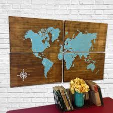 Large Wall World Map large wooden world map aqua rustic world map map art home