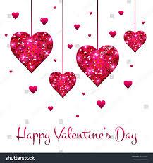 Design For Valentines Card Vector Heart Pink Glitter Stars Lights Stock Vector 357456962