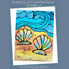 black glue watercolor seashells u2013 the pinterested parent