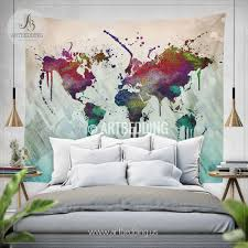 Worldly Decor World Map Abstract Watercolor Wall Tapestry Grunge World Map Wall