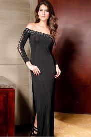 Black Off Shoulder Lace Up Long Sleeve Side Slit Dress Long