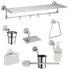 jwell 8 pc stainless steel premium bathroom accessories set silk