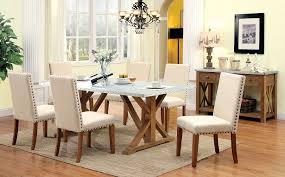 industrial style galvanized table top 7 piece dining table set
