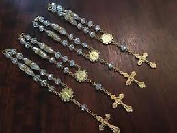 Crystal Baptism Favors 12 Baptism Favors Mini Rosary Bracelet Crystal Pearls Gold Plated