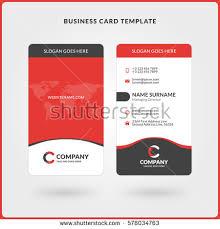 Flat Design Business Card Vertical Doublesided Business Card Template Blue Stock Vector