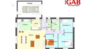 plan maison rdc 3 chambres plan maison plain pied 3 chambres 1 bureau gab rdc site 800 445