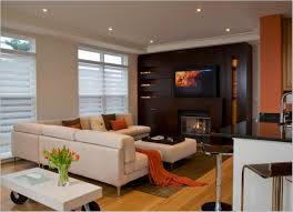 beautiful contemporary living room with corner fireplace