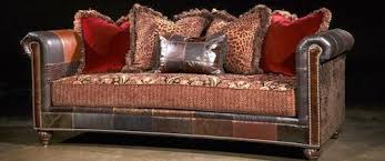 Finnegan Sofa Shown In Red With Genuine Leather Patchwork Paul - Paul roberts sofa