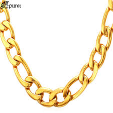 gold chain necklace wholesale images Buy thick gold chain necklace men figaro 316l jpg