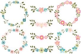 flower wreath pink floral wreaths clipart blue flower wreath clip set