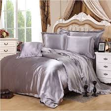 Comforters Bedding Sets Silver Gray Imitate Silk Satin Bedding Set 4pcs Solid Color Duvet