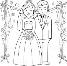 bride and groom coloring book page stock vector art 597944324 istock