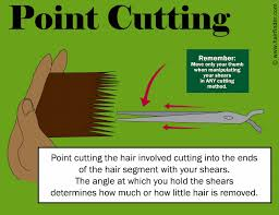 trimming hair angle cut end finishing or point cutting for when you texturize hair