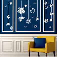 2017 white snow merry christmas bell ornaments wall sticker window