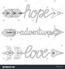 bohemian arrows hand painted signs boho stock vector 560332348