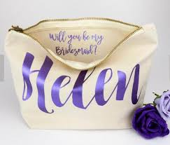 bridal party gift bags personalised bridesmaid gift make up bags will you be my
