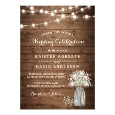 jar wedding invitations rustic wood jars string lights lace wedding card zazzle