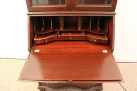 vintage chippendale mahogany bookcase dresser slanted drop front