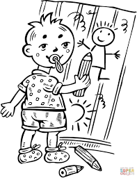 boy drawing pictures on wall coloring page free printable
