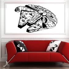 popular vinyl wall art decal buy cheap lots millenium falcon star wars vinyl wall art decal movie sticker bedroom free shipping china