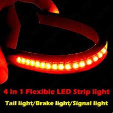 led light strip turn signal universal flexible 32 led motorcycle light strip tail brake stop