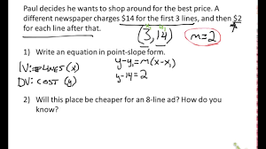 point slope word problems