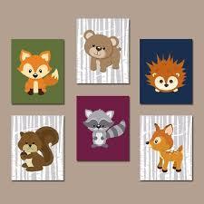 Animal Wall Decor For Nursery Woodland Nursery Wall Wall Decor Birch Wood Forest Animals
