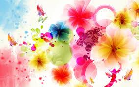 colorful flowers butterflies