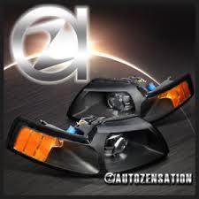 ebay mustang headlights 99 04 ford mustang retrofit black projector headlights