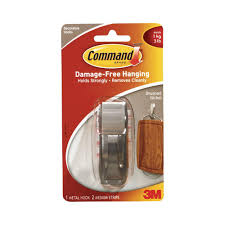 Backpack Hooks For Home by Command Large Brushed Nickel Traditional Hook 3 Piece Per Pack